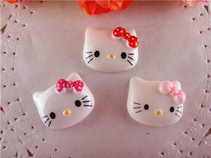 2014 new kawaii hello kitty resins flatback for hair bows flat back resins for hairbows 10pcs/lot WQ14032019(China (Mainland))
