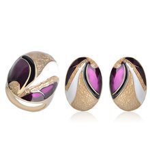 Blucome אופנה גדול גודל Stud עגילי טבעת סט עגול ירוק אמייל זהב צבע נשים אמא מסיבת יום הולדת מתנות(China)
