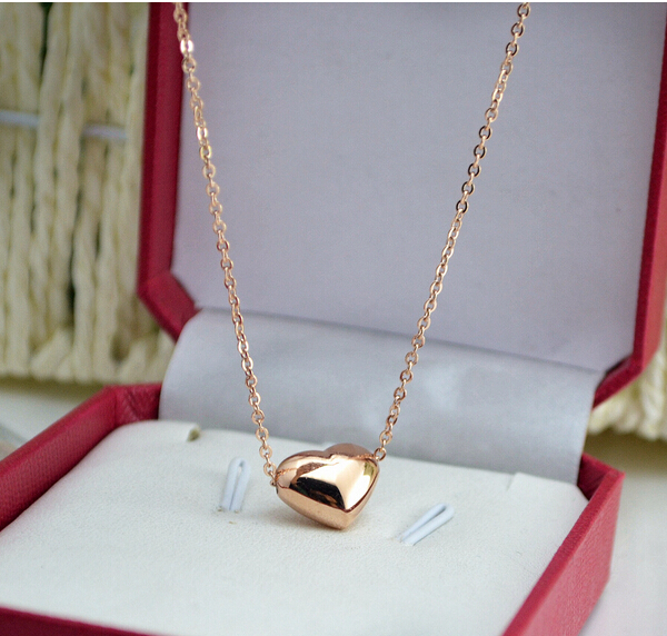 Smooth stereo heart necklace titanium steel 14K heart pendant Rose gold not fade necklace 1pc(China (Mainland))