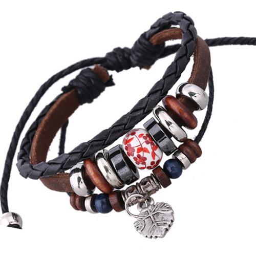 Braided Chain Leather Bracelet Ceramic Ball Beads Women Cuff Bracelet Leaf Pendant Bangle Flower Tattoo Ethnic Porcelain Jewelry(China (Mainland))