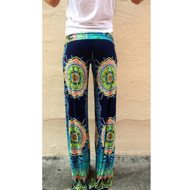 FW1S Sexy Women Boho Print Vintage Loose Straight Leg Long Pants Trousers