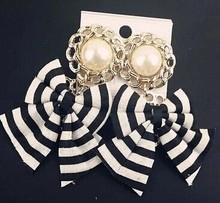 Comiya quality black White fashion stripe bowknot lace drop earrings pendientes bridal lada cc bijoux jewelry brincos(China (Mainland))