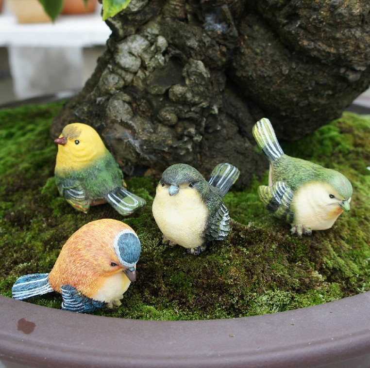 Creative small resin bird crafts artificial animal birds for Artificial birds for decoration