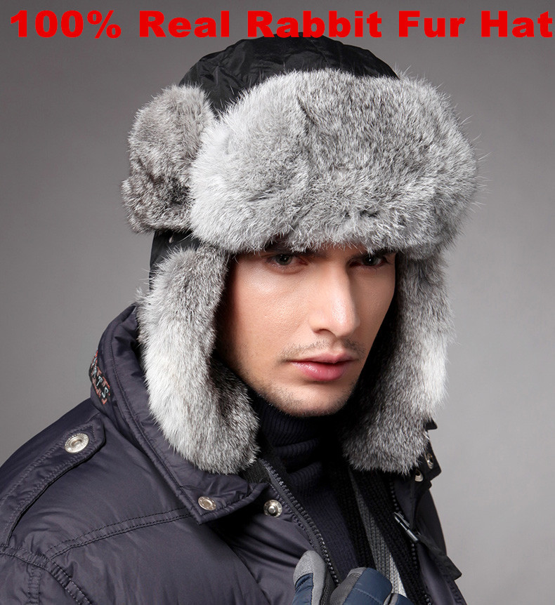 High Quality Mens 100% Real Rabbit Fur Winter Hats With Ear Flaps Outdoor Warm Snow Caps Russian Hat Bomber Cap For Women W00256(China (Mainland))