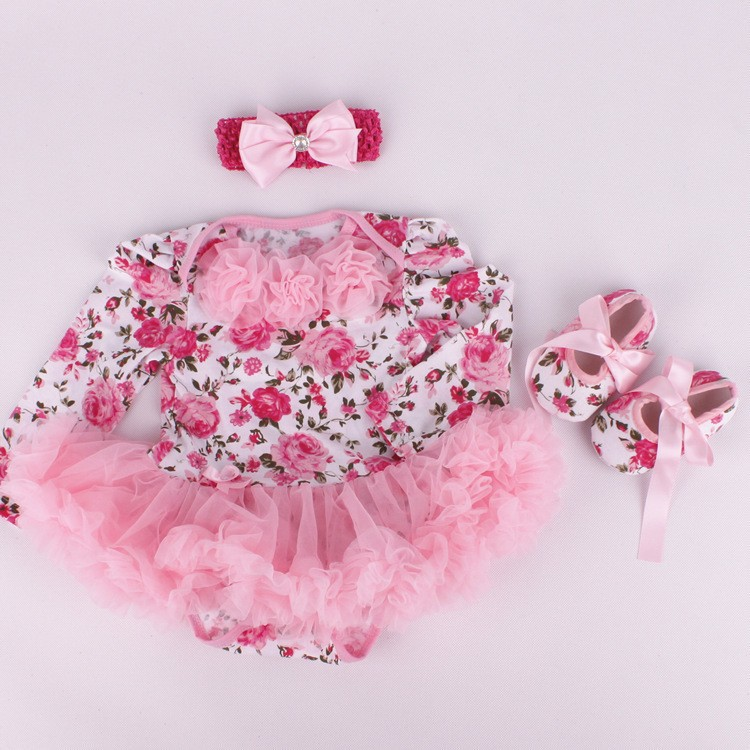 Newborn Baby Rompers Casual Long Sleeve Baby Girls Clothing Headband Romper Dress Shoes 3 pieces set