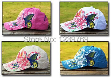 women's baseball cap Ferrary butterfly embroidery outdoor cap hiphop sun-shading sunscreen sun hat Free shipping(China (Mainland))