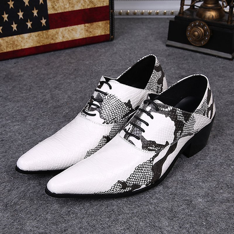 Plus size 2015 New Formal Brand Genuine Leather High Heels Pointed Toe Oxfords Punk Mens Lace up Snake Print Party Shoes FPT405<br><br>Aliexpress