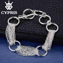 Circle Bracelet Cheapest Fashion silver rolo chain bracelet Factory Price CYPRIS Fine jewelry(China (Mainland))