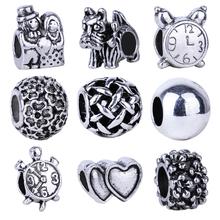 1pc Free Shipping Silver Bead Charm European Tortoise Clock Dog Love Heart Flowers Bead Fit Pandora Bracelets & Necklace(China (Mainland))