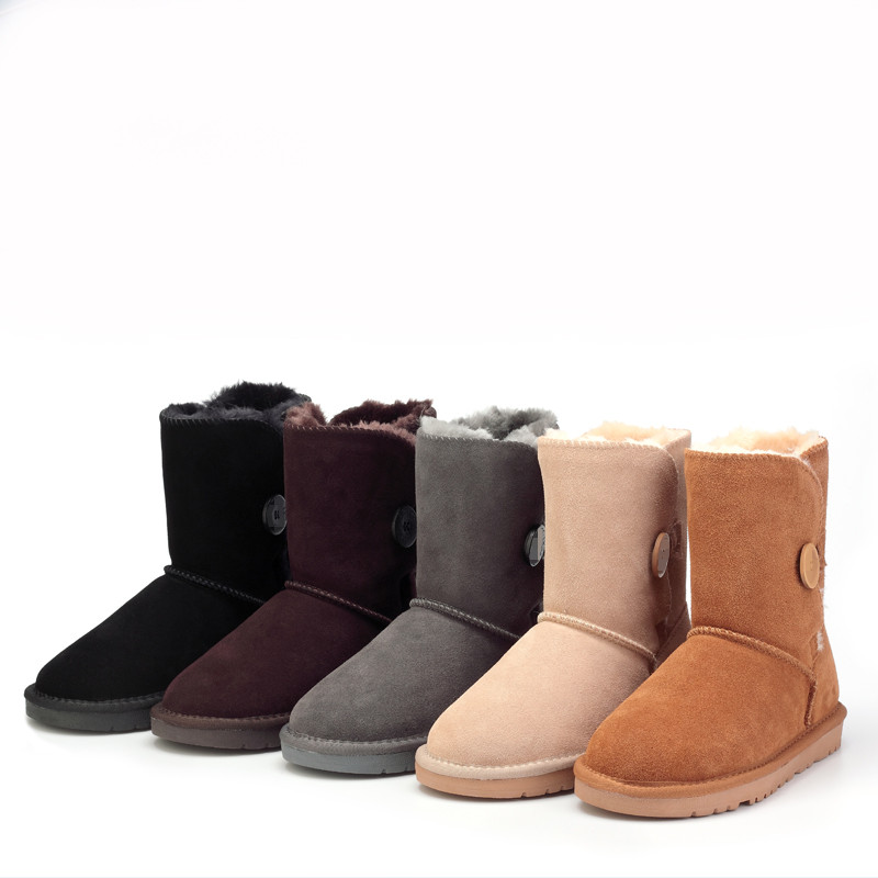 Cheap retail and wholesale 2016 new Australia snow boots leather boots female warm fashion casual flat boots(China (Mainland))
