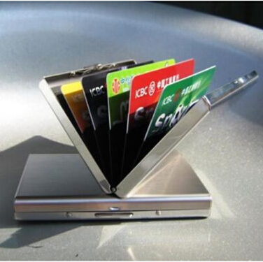2015 New Stainless Steel Silver Men ID Credit Card Box Holder Metal Women Hasp Mini Wallet