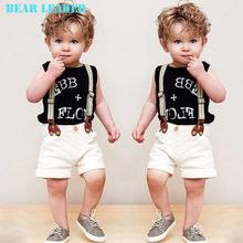 Bear Leader Boys Clothing Sets Fashion Boys sets 2016 Summer Black Sleeveless Letter T-shirt+short pants+straps handsome 3pcs(China (Mainland))