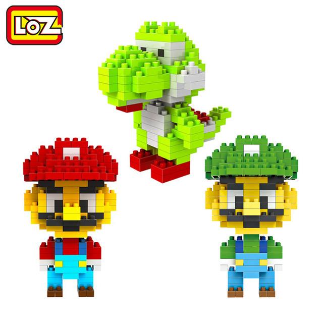 Super Mario Bros Игрушка Фигура Модель Луиджи Марио Игра Строительных Блоков Оригинальной Коробке 9 + Подарок LOZ 2015 НОВЫЙ