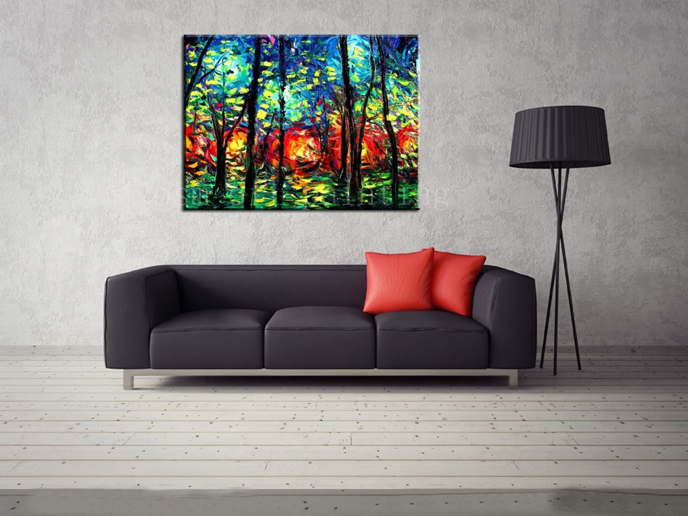 Buy Top Skill Hand Painted Calligraphy Painting on Canvas Wall Art Decor Handmade Modern Abstract Knife Tree Landscape Oil Paintings cheap