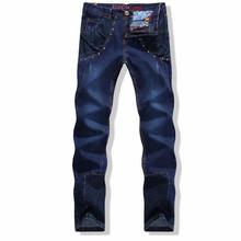 Plus Size 2015 New Arrival Men Pants Autumn Winter Patchwork Denim Casual Designer Slim Fit Jeans Pants Long Straight Trousers(China (Mainland))
