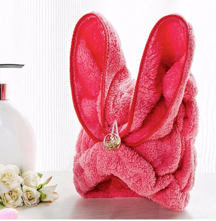 Korean coral cashmere Dry hair hat super absorbent towel dry hair cute rabbit ears increased thickening shower cap turban A3