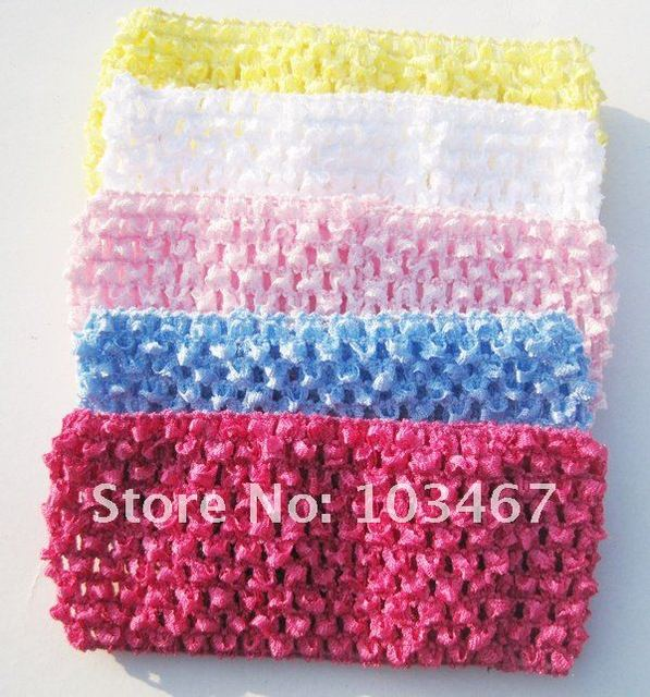 Free Shipping- 5 Colors 7cm Good Quality Baby Crochet Headband Whosesale 50pcs/lot