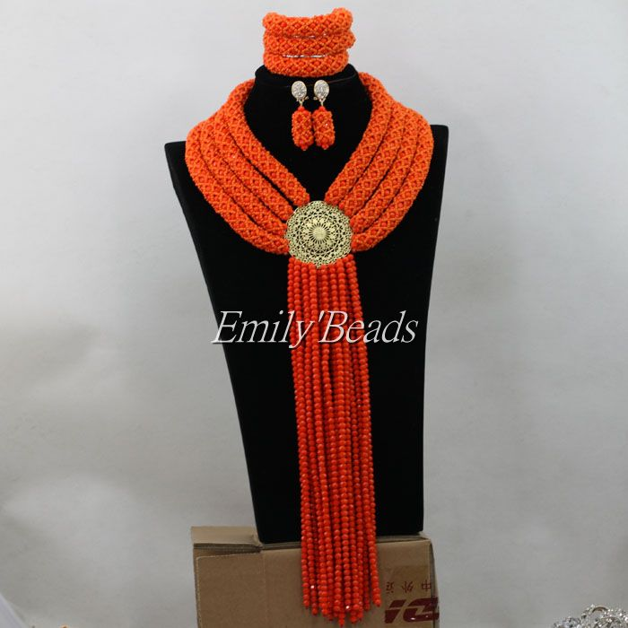 Big African Party Jewelry Set Orange Nigerian Wedding African Crystal Beads Bridal Necklace Jewelry Set Free Shipping AIJ355<br><br>Aliexpress