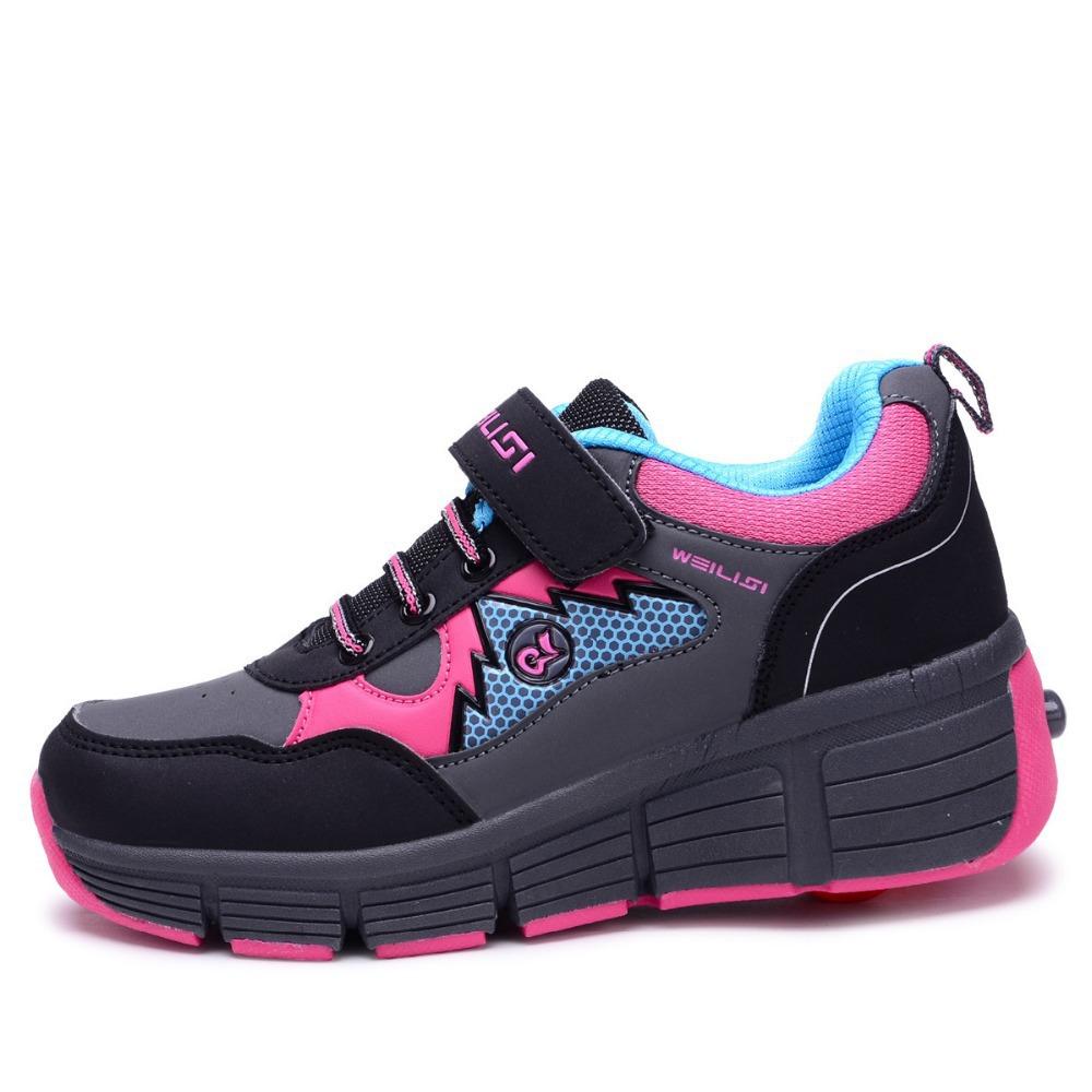 2015 New Children Heelys boys girls shoes waterproof heelys rollerskate roller kids fashion sneakers Size31-41 TX86