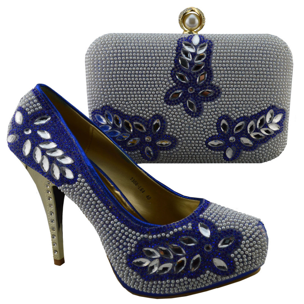 Free shipping,Handmade Fashionable Italian Shoes With Matching Bag Wholesale For 1308-L64 Lady African Shoes And Bag for stones!