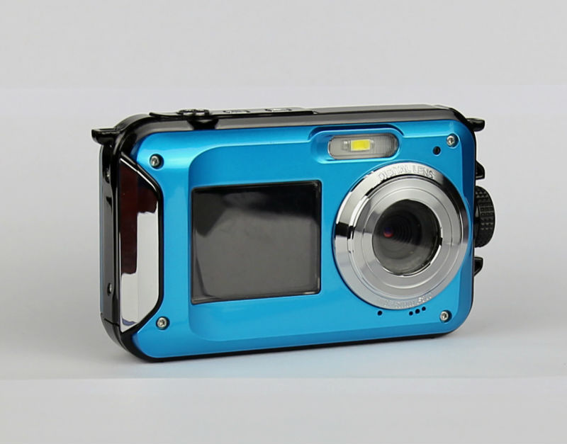 Waterproof Digital Camera 5M 16X Zoom Underwater Shockproof HD cam 2.7inch LCD CMOS waterproof Cameras DC double Screens camera(China (Mainland))