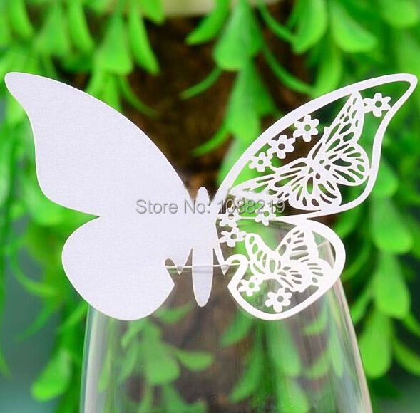 120pcs/Lot T Laser Cut Butterfly Glass Cup Card Party Decoration Wedding Supplies Decor Multicolor(China (Mainland))