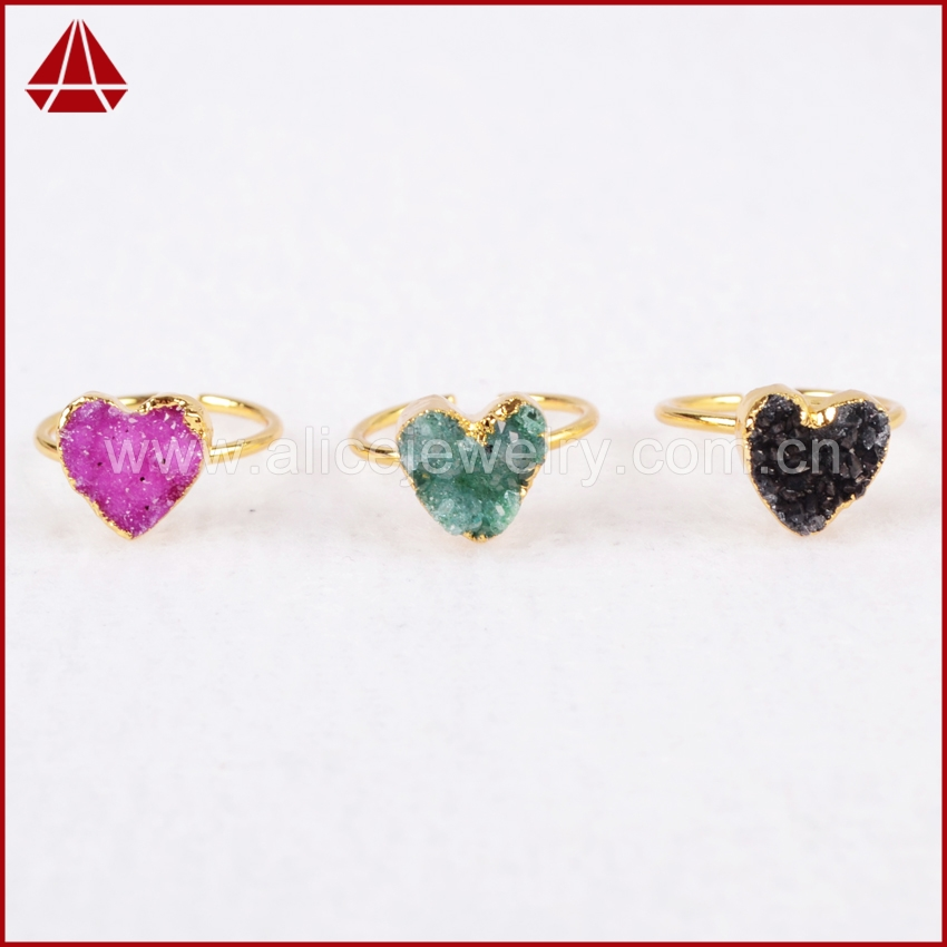 (Small Size) Heart Golden Rings , Rainbow Natural Geode Quartz Druzy Rings,24K Gold Plated Quartz Druzy Adjustable Rings G600<br><br>Aliexpress