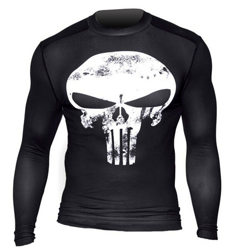 New 2016 Fashion Men Marvel Superhero Punisher T Shirt Jersey Men Sport Fitness Gym Running tee Compression Shirt Tights Male(China (Mainland))