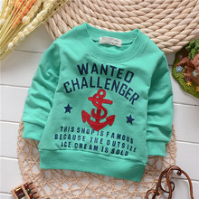 unisex england style boys anchor letter cotton baby children sweatshirts hoodies drop shippig KT206R(China (Mainland))
