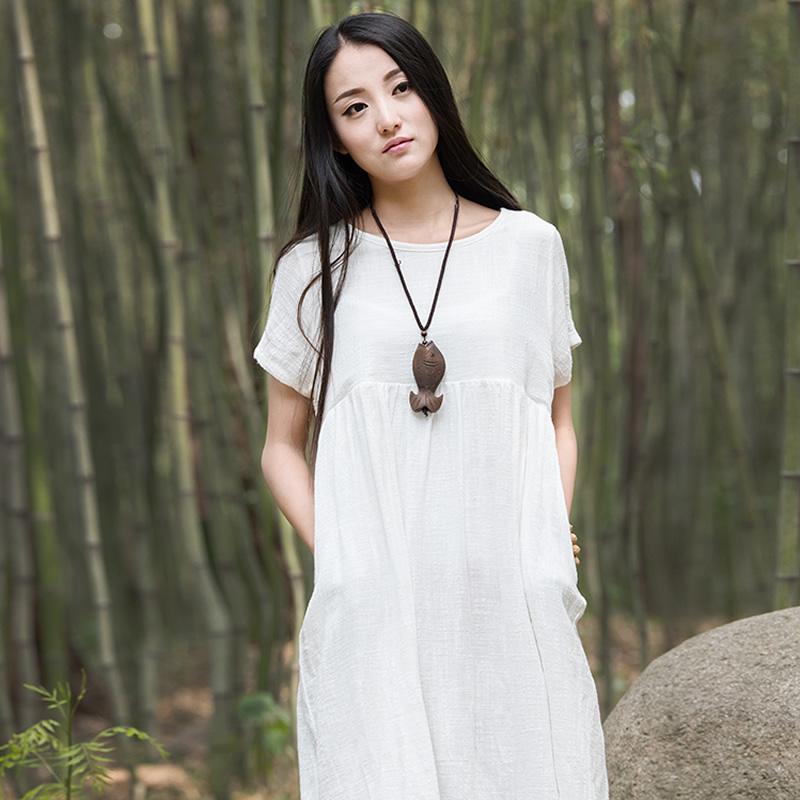 Summer New Solid Linen Women Knee length Dress Brand Design Casual Loose Linen Dresses Mori girl style Vintage Robe Femme C107(China (Mainland))