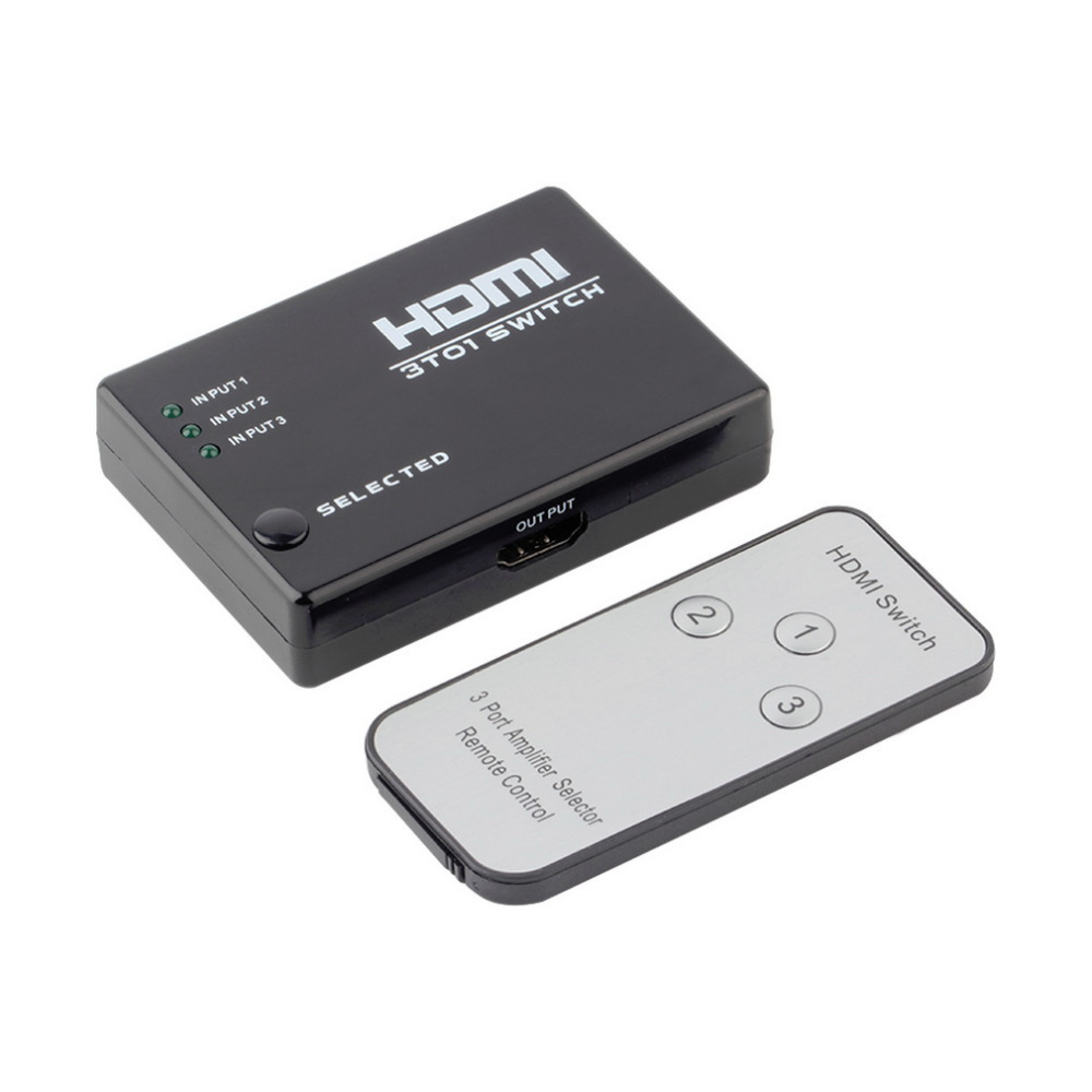 1pcs 3 Port 1080P Video HDMI Switch Switcher Splitter IR Remote For HDTV PS3 DVD Worldwide