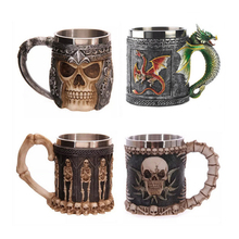 new Personalized Double Wall Stainless Steel 3D Skull Mugs Coffee Cup Mug Skull Knight Tankard Dragon Drinking Cup Canecas Copo