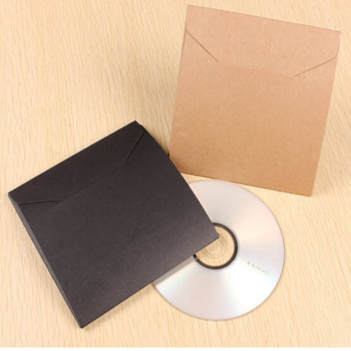 13*13cm Kraft Paper CD Sleeve Discs DVD Case Envelope Retail Packaging Packing Bag Holder Box Wedding Party Supply