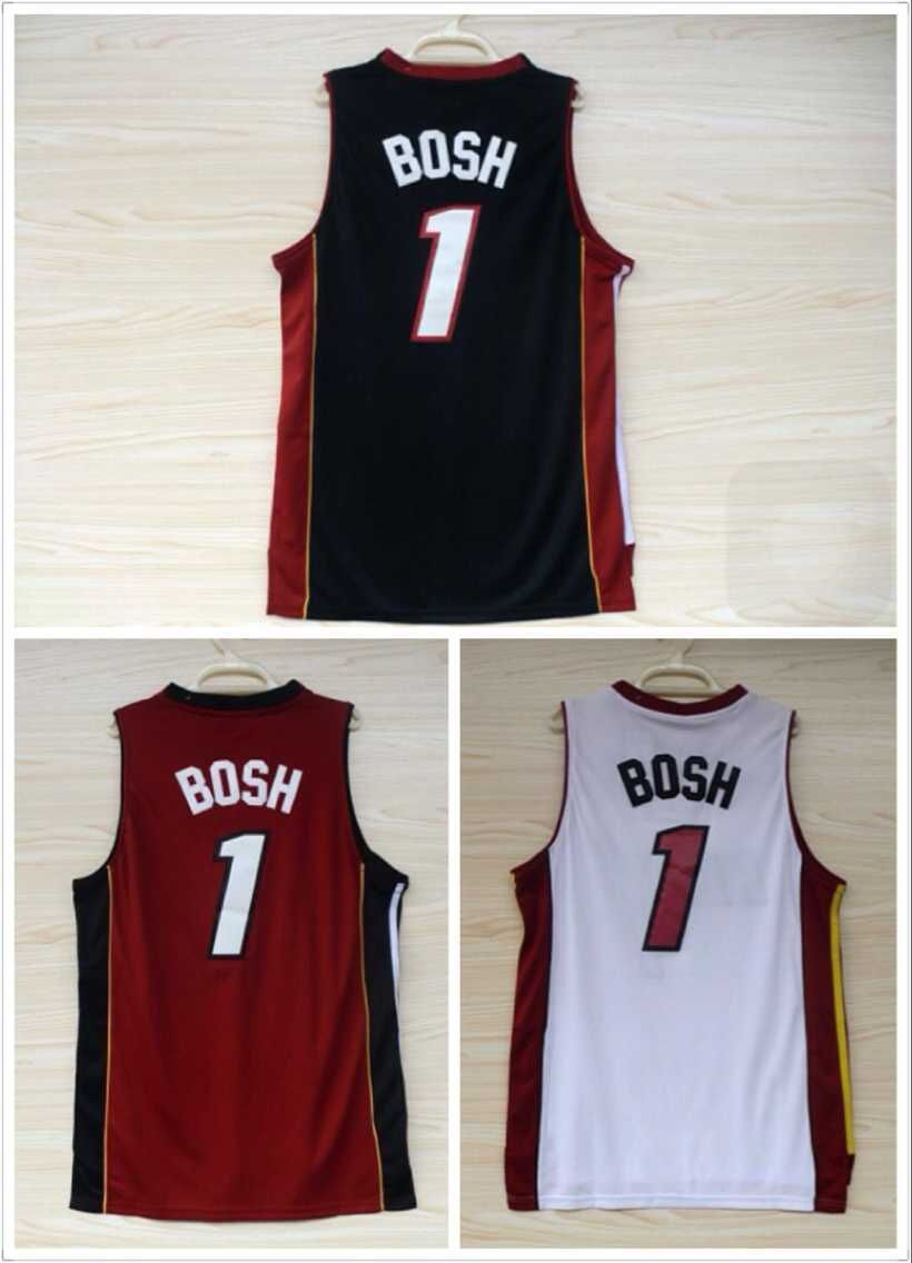 Wholesale Miami Basketball jersey #1 Chris Bosh Jersey Black Red White Team Color Fashion sport men shorts Embroidery Logos(China (Mainland))