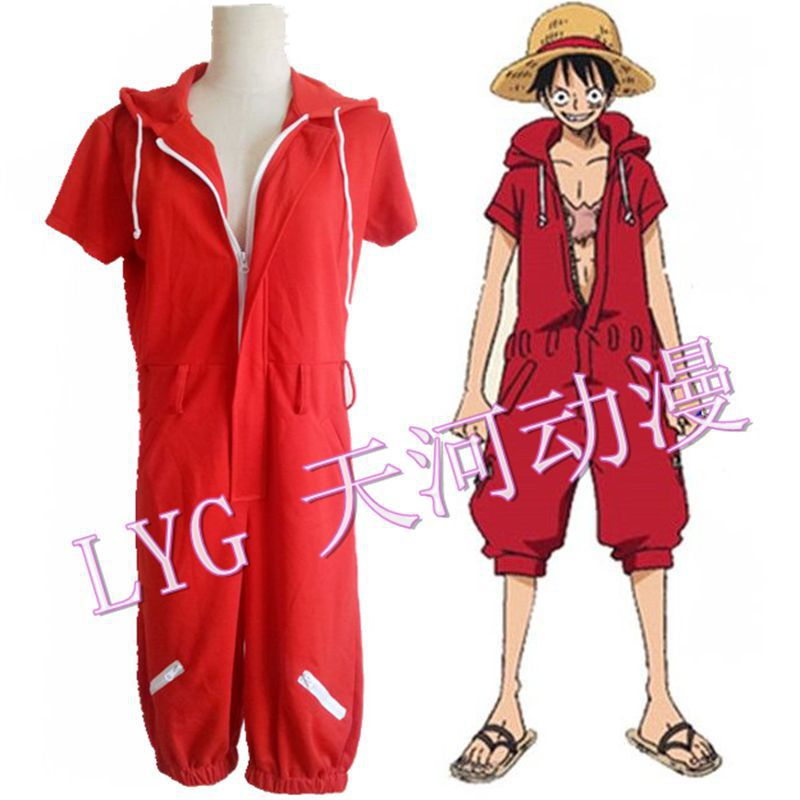 Anime One Piece Cosplay Episode of Luffy Monkey D.Luffy Cosplay Red Halloween Costume Plus Size 3XL(China (Mainland))