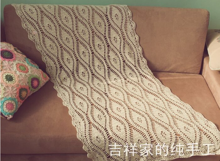 Feathers --- Original Handmade Crochet Flowers woven hollow Rectangular Tablecloths Cotton Table cloth Table Runner Cover cloth(China (Mainland))