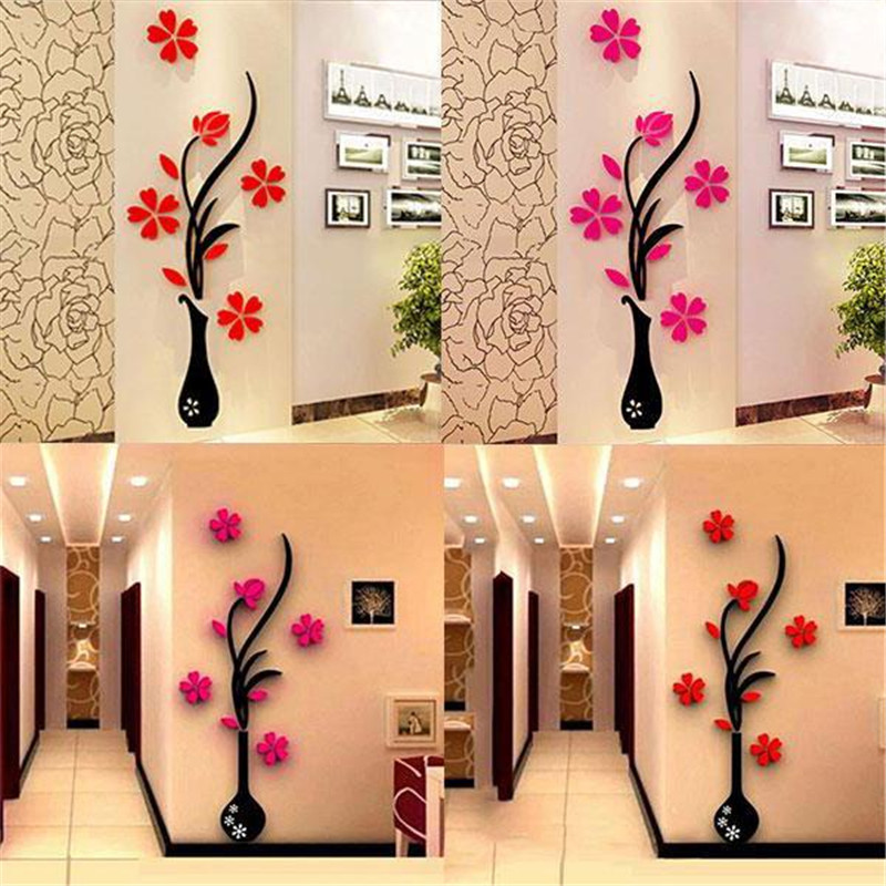 2016 New Fashion Removeable 3D Vase Flower Tree Crystal Arcylic Wall Stickers Room Decor Drop Shipping(China (Mainland))