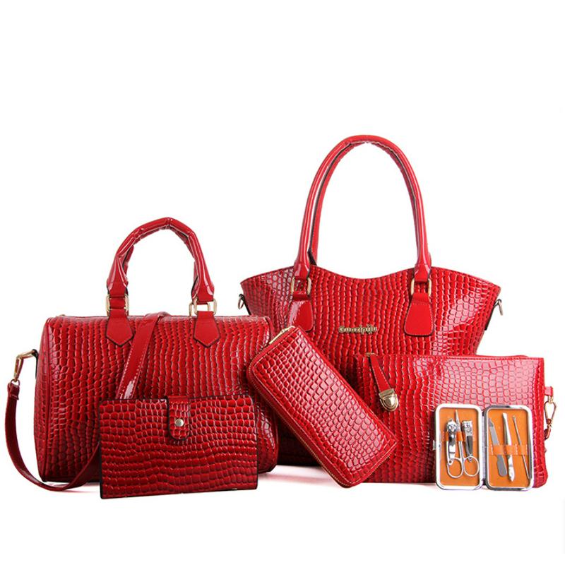 Crocodile Pattern Women Bag Stone 6 Bags  Women Handbag Pu Leather Shoulder Bag Women Messenger Bags Lady Day Clutch Tote Bolsas<br><br>Aliexpress