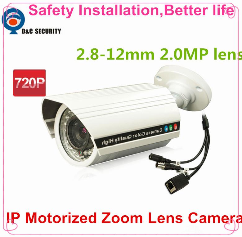 Safety Installation CCTV HD 1.0MP 1280*720P Network IP Camera Motorized Varifocal 2.8~12mm Zoom Lens Motion Detection Alarm P2P(China (Mainland))