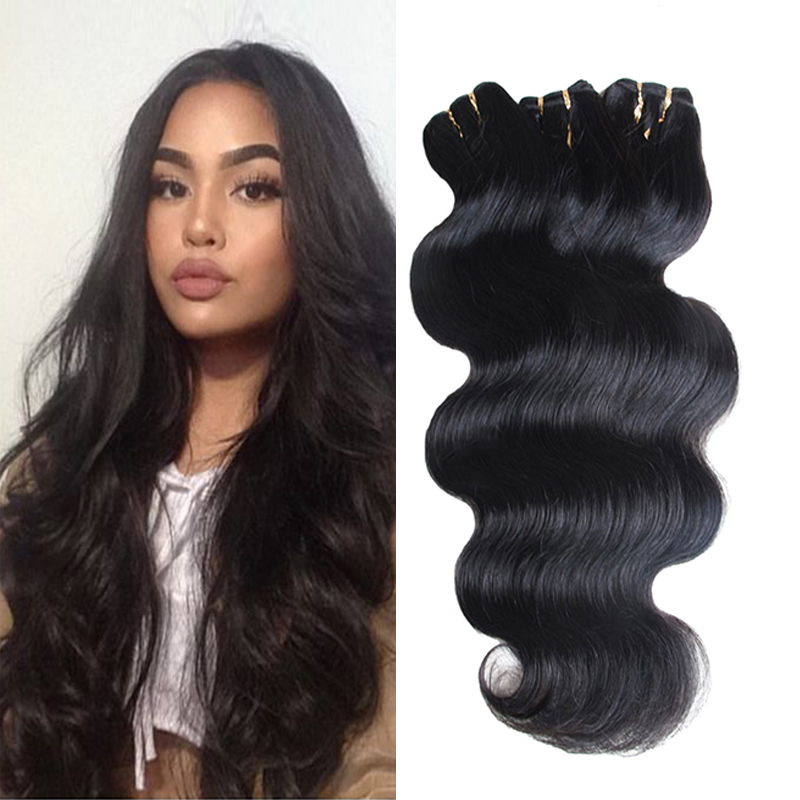 Fashion 7A Malaysian Virgin Hair 6pcs Malaysian Body Wave Weave Bundles Hair Extensions Grace Hair Products VIP Beauty Hair#1B(China (Mainland))