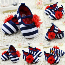 Infant Toddler Stripe Flower Crib Shoes Soft Sole Kid Girls Baby Shoes Prewalker(China (Mainland))