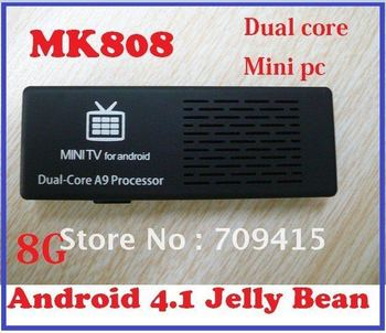 Free shipping MK808 Android 4.1 Jelly Bean Mini PC Cortex-A9 dual core 1.6GHz 1GB DDR3/ 8G HDD stick HDMI Smart Google TV Box