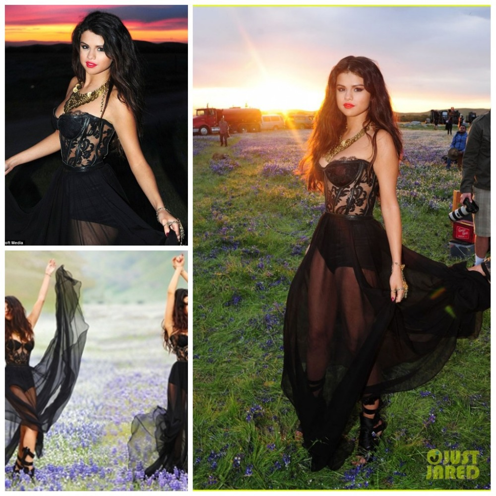 Selena Gomez Black Sheer Dress Black Chiffon Sheer Selena