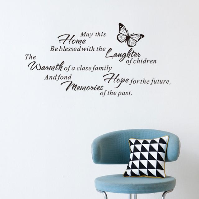 Бесплатная доставка семейный дом детей надежда декор стен наклейка для гостиной бабочка подарок съемный украшения 8269 стены искусства