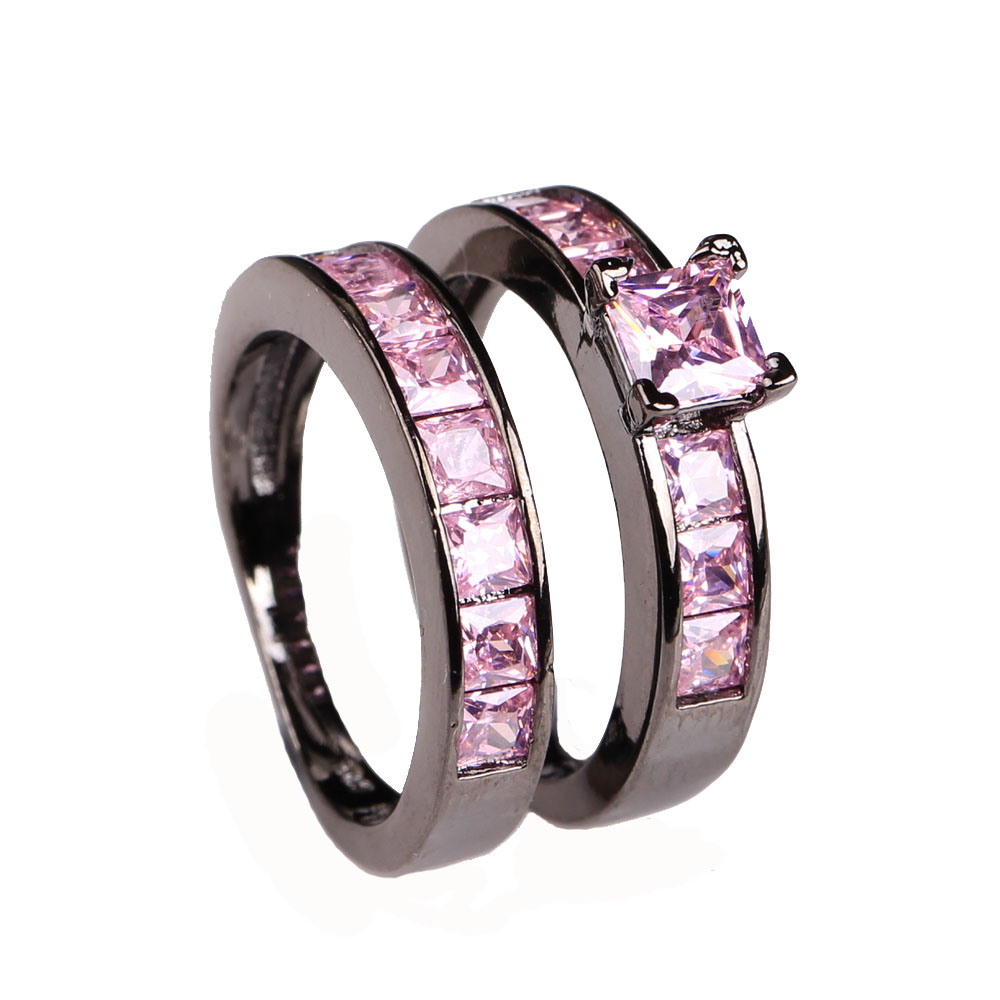 wholesale black ring sets for wedding women love gift luxury