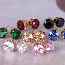 ERZC269 Women's gifts Austrian crystal Clear/Multicolor Crystal Allergy Free Ear gold palted Studs Earrings