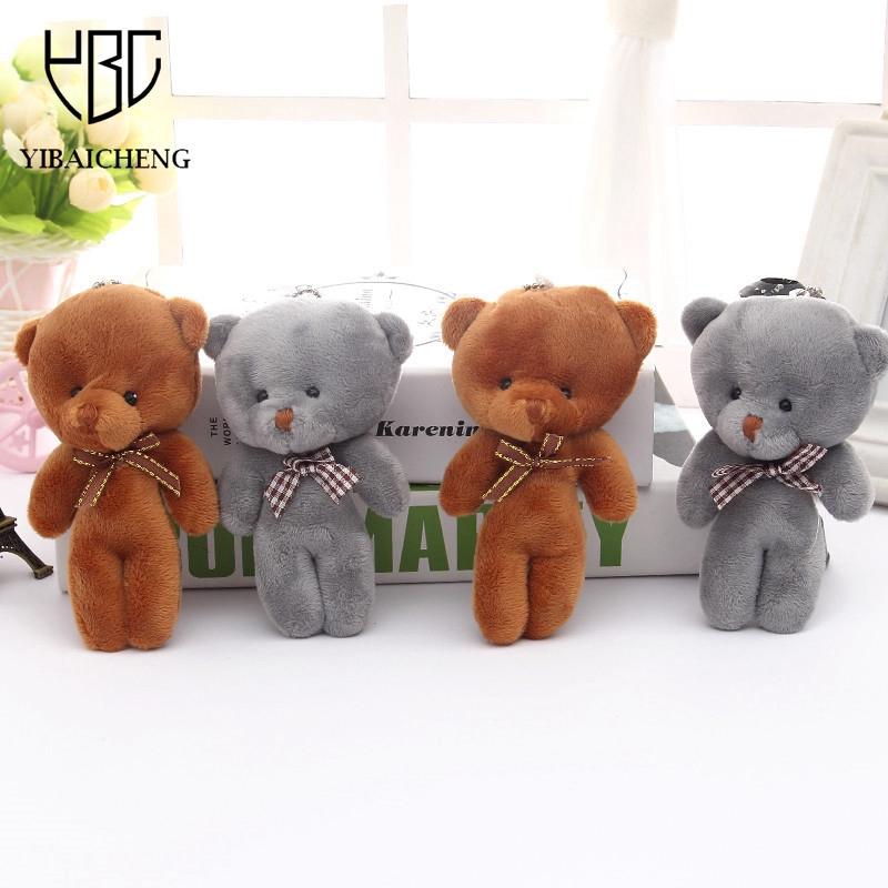 14CM Q Mini Teddy Bear Plush Stuffed Toy Doll Pendant Bag Accessory Wedding Gifts Keychain Plush Stuffed Toys For Children Kids(China (Mainland))
