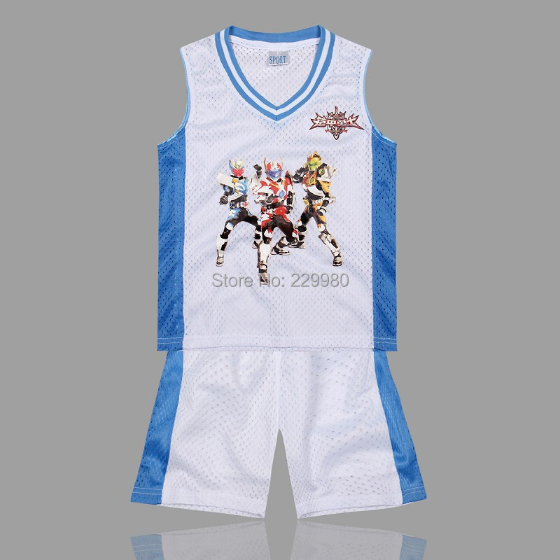 Fashion Cartoon 3Colors Kid's Childrens Boys Girl's Basketball Jersey Suits Clothing Set Vest Shirt+Basketball Shorts - Children Jerseys store