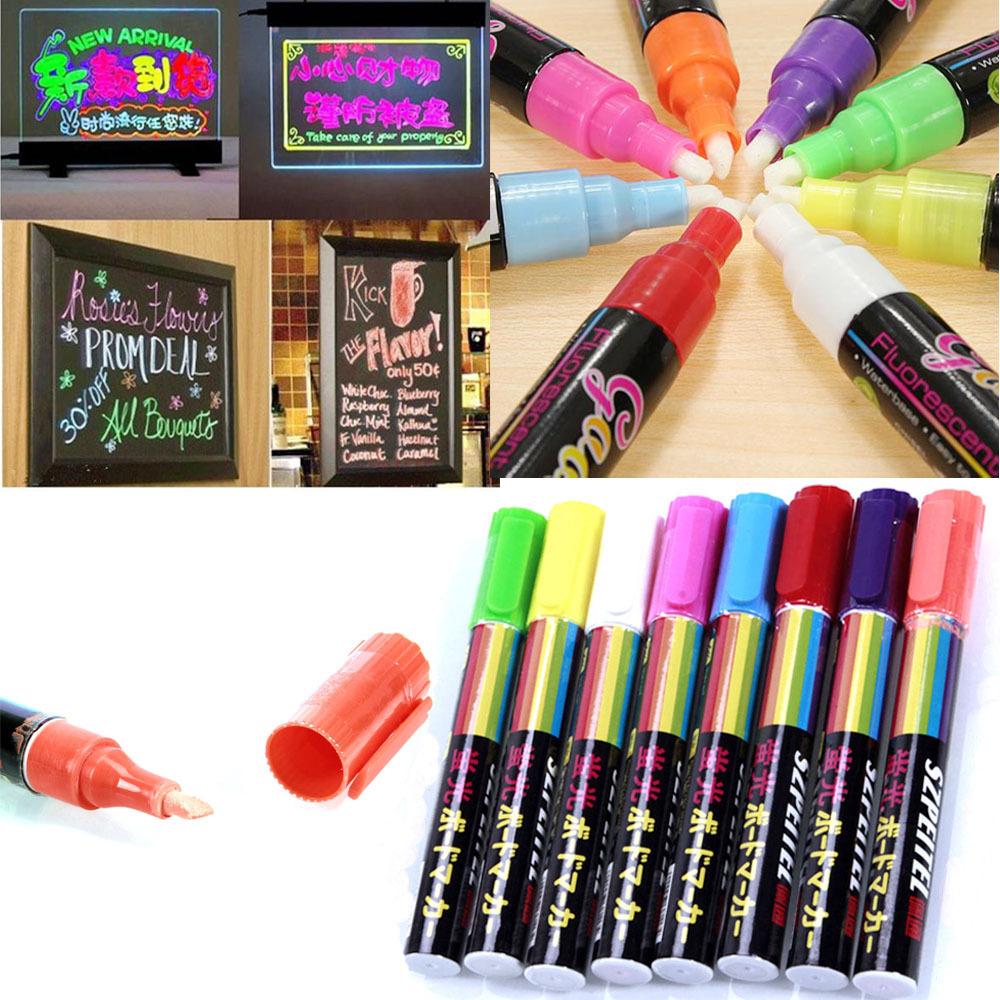 freen shipping 8pcsset school office highlighter fluorescent liquid chalk marker neon pen for led