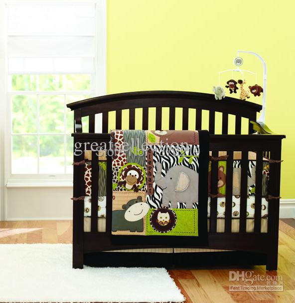 New 7pcs Embroidered 3D Animals Brown Color Boy Baby Cot Crib Bedding Set 4 items includes Comforter Bumper Fitted Sheet Skirt(China (Mainland))